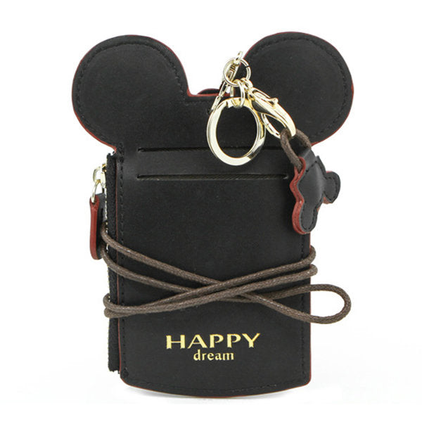 disney mickey minnie mouse wallet card holder organizer key room id purse lanyard hanging neck red - Id Card Holder
