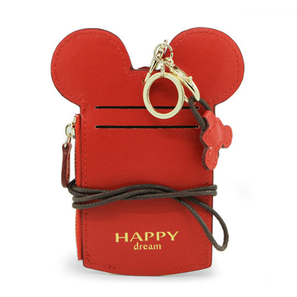 disney mickey minnie mouse wallet card holder organizer key room id purse lanyard hanging neck red black blue green yellow beige pink