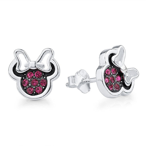 minnie mouse earrings mickey ear rings jewelry cubic zirconia cz pink rhinestone stud disney walt world land jewelry accessories fashion