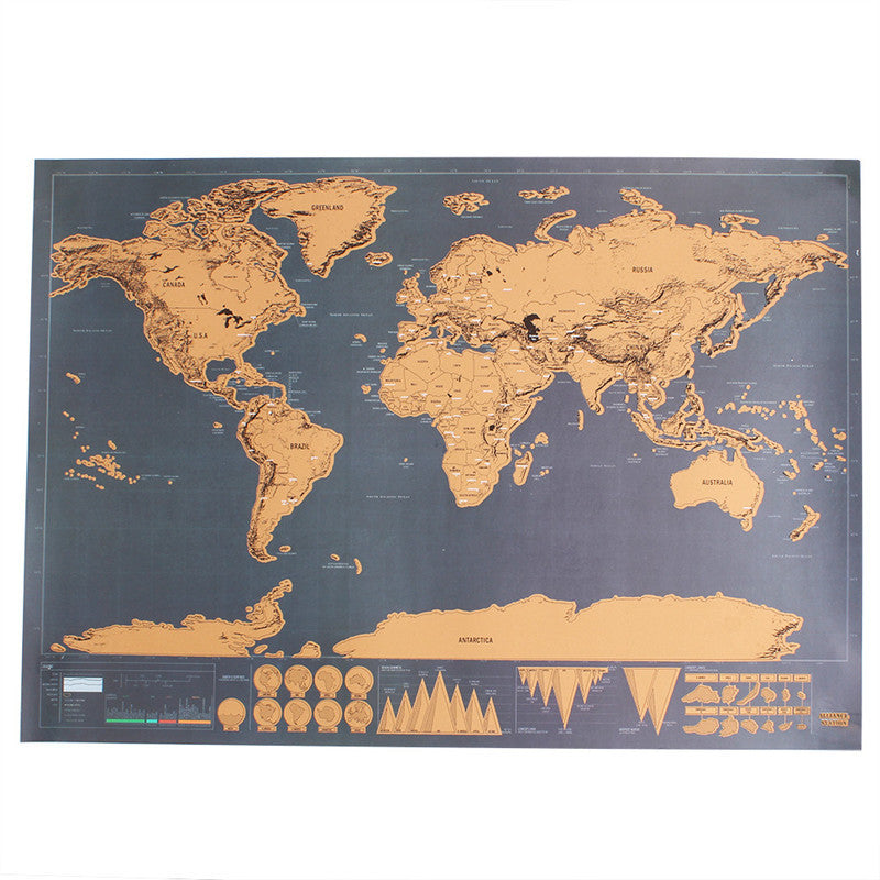 Scratch off world map travel poster black – Adventures in Wanderlust