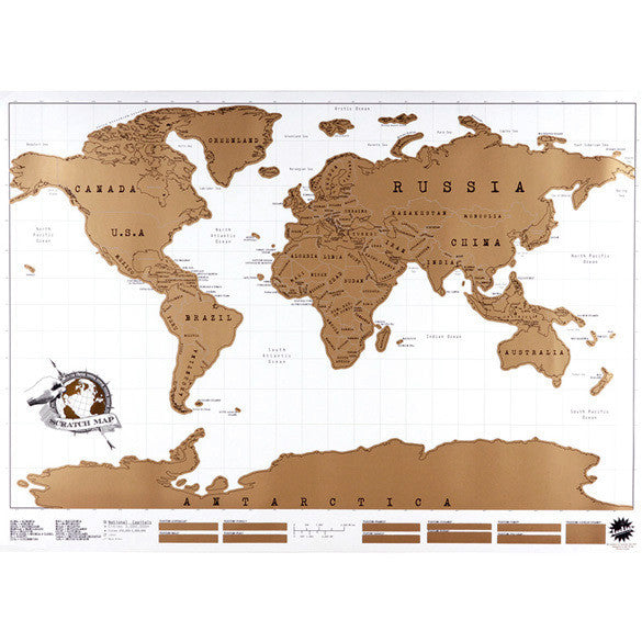 Scratch off world map travel poster white