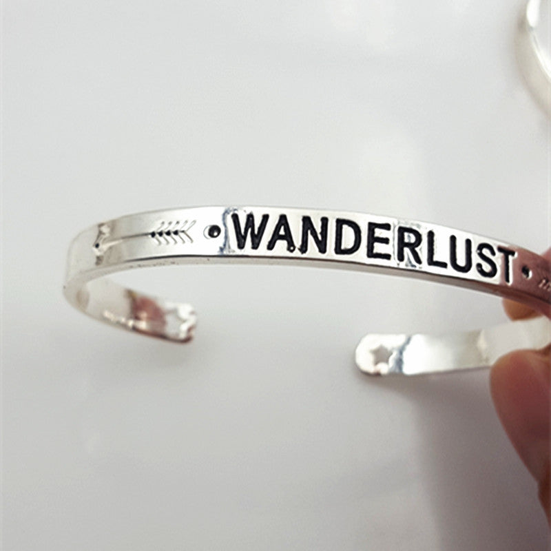 wanderlust bracelet | wanderlust jewelry | travel bracelet | wanderlust bangle | handstamped jewelry