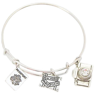 Wanderlust jewelry | wanderlust | travel jewelry | plane jewelry | plane charm | passport jewelry | passport charm | compass jewelry | compass charm | map jewelry | map charm | airplane bracelet | airplane bangle | travel bracelet | travel bangle | camera charm