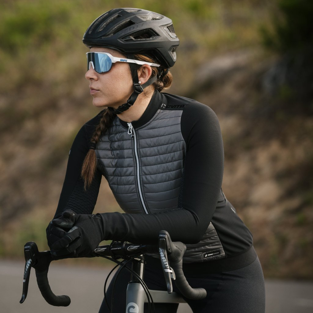 ladies grey quilted cycling jacket