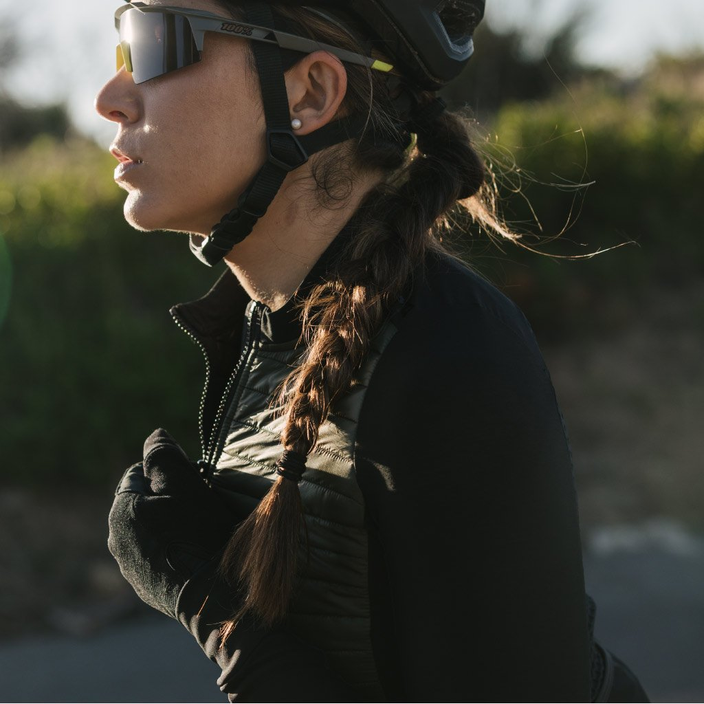 dark olive quilted cycling jacket
