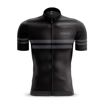 black cycling jersey race fit mesh sleeves