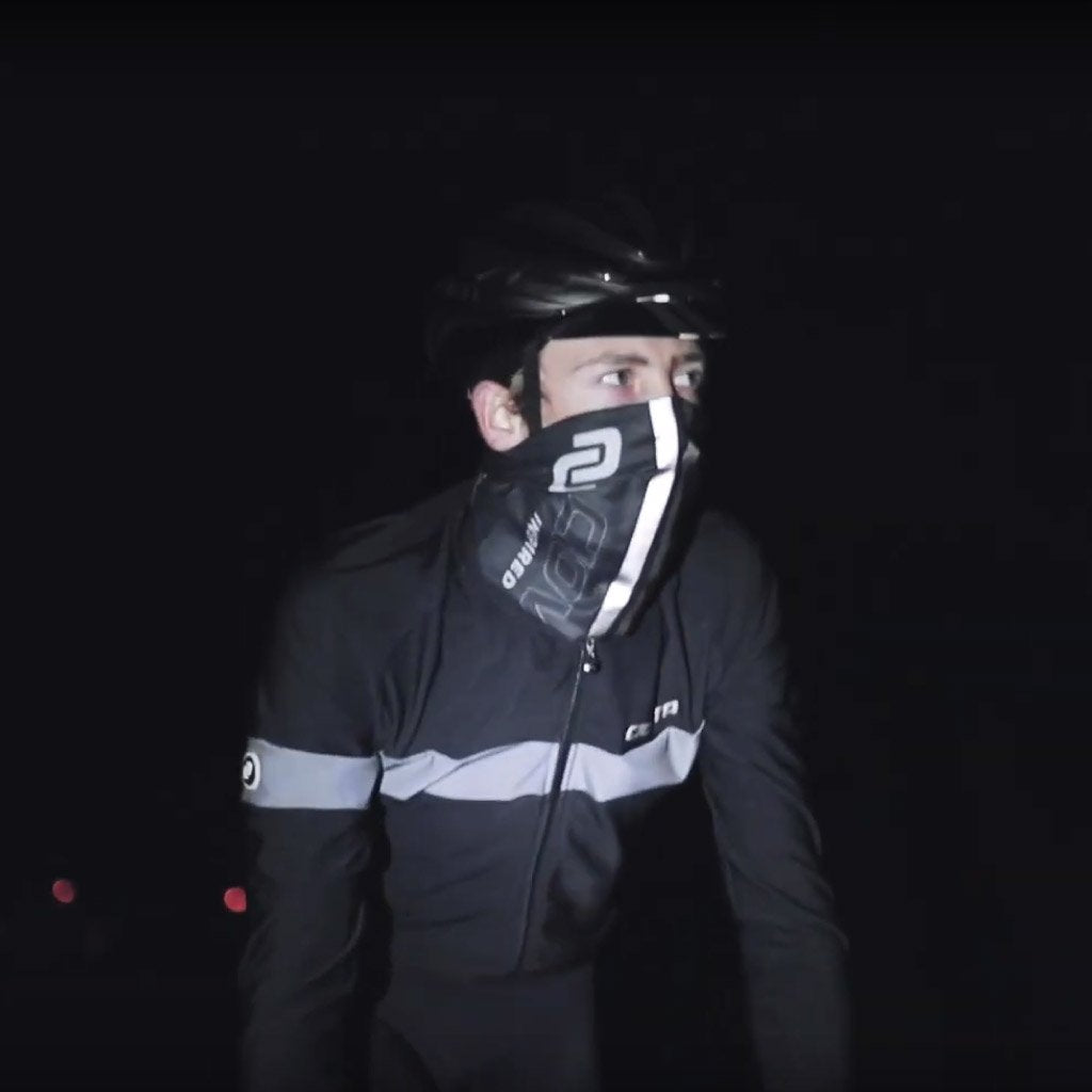 cycling headscarf with reflective strips