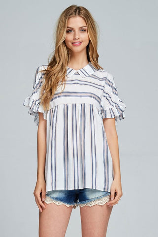Striped Collared Top