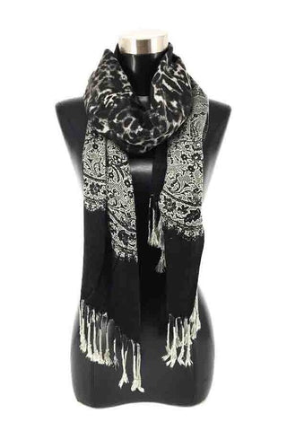 Long Animal and Lace Print Scarf