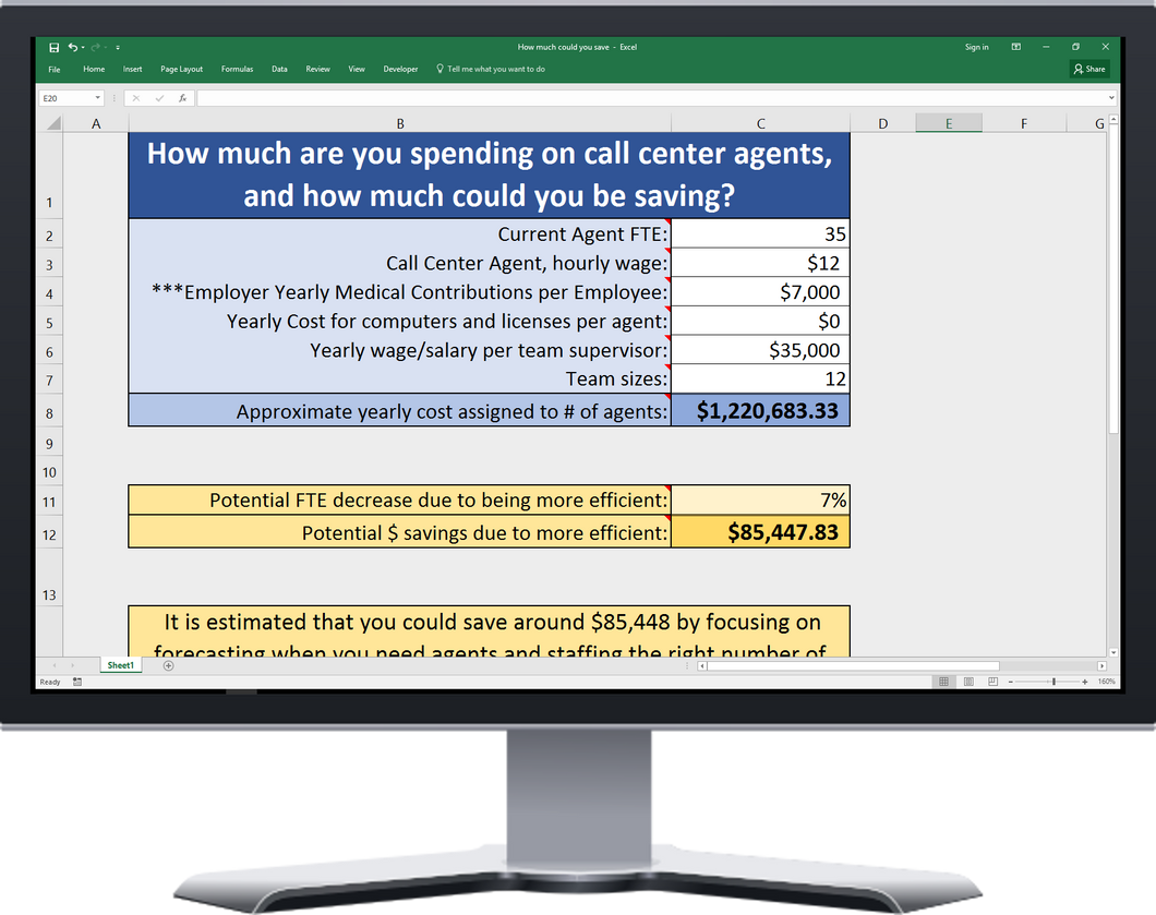 An Excel spreadsheet that breaks down how much you are currently spending on costs directly associated with agents, and how much you could be saving (What is your ROI?)