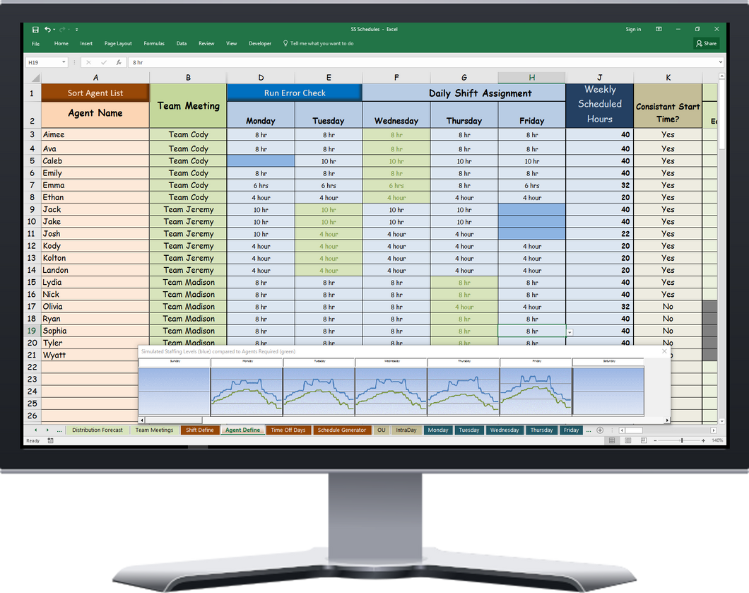 Powerful Excel based scheduler for call center agent