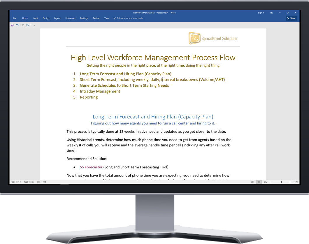 Free article outlining the main process flow within Workforce Management with details around how to do Capacity Planning, Forecasting, and Scheduling.