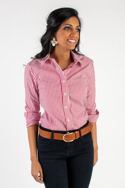 RED + WHITE ICON STRIPE BUTTON DOWN SHIRT