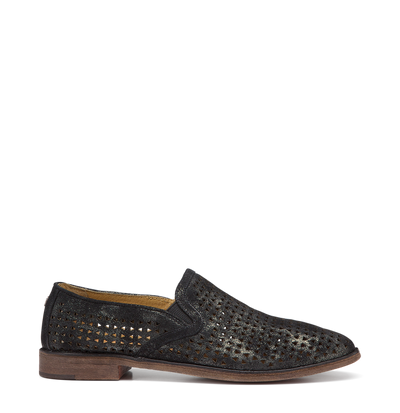 PERFORATED METALLIC BLACK LOAFER