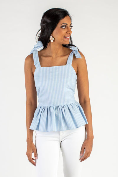 Molly Bow Blue Peplum Top
