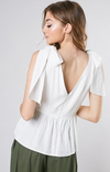 Tie Shoulder White Top