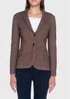 Check Print Fleece Cashmere Blazer