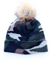 Camo Knit Hat With Pom Detail