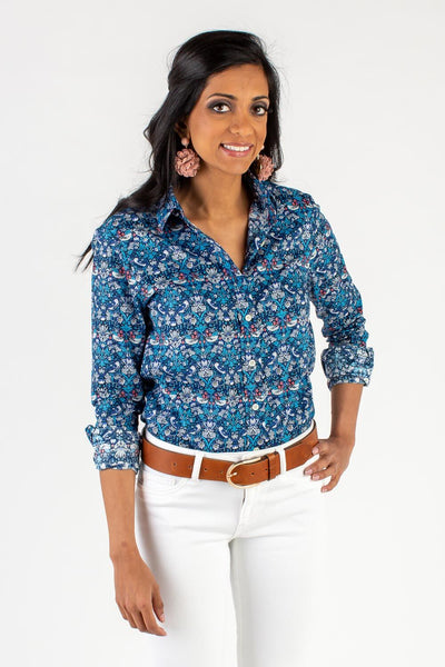 SHADES OF BLUE ICON BUTTON DOWN SHIRT