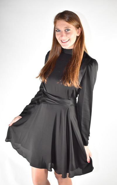 Long Sleeved Black Silk Dress