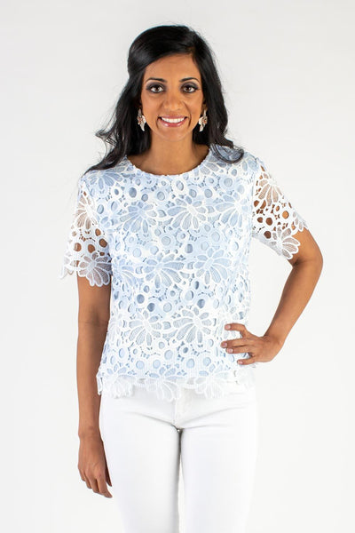 Dusty Blue Lace Sleeved Top