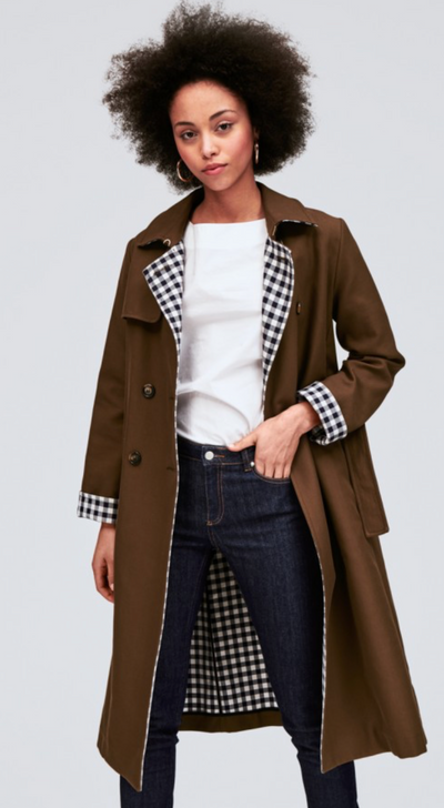 Kahki Trench Gingham Interior Jacket