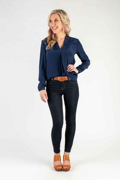 INK NAVY V NECK BLOUSE W/SLEEVE TOP