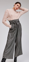 Wide Legged Grey Herringbone Pants