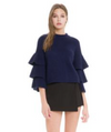 Tiered Navy Bell Sleeve Sweater
