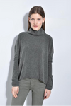 The Draped Mock Neck Heather Green Sweater