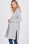 Grey Side Slit Cardigan