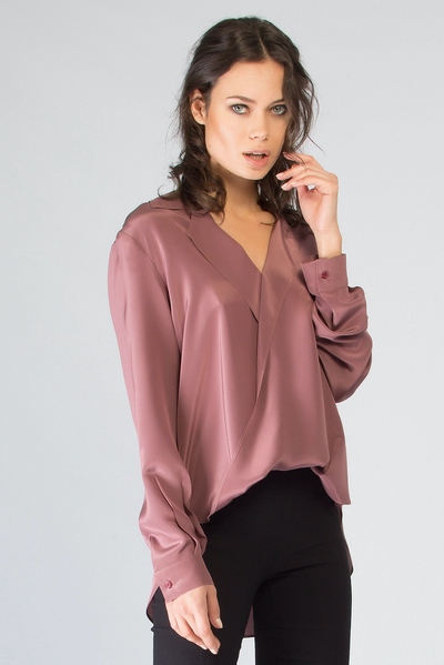 MIULBERRY SILK BUTTON CROSS TOP