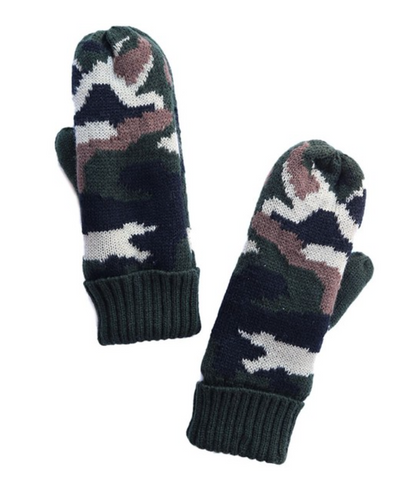 Camo Mittens Fleece Lined