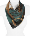Teal Boot & Rope Print Scarf