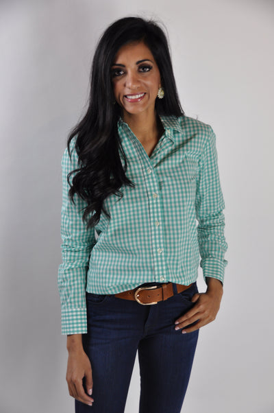 WIDE GINGHAM ESSENTIAL BUTTON DOWN SHIRT