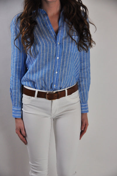 Frank and Eileen Long Sleeve Wide blue Stripe Linen Button Down