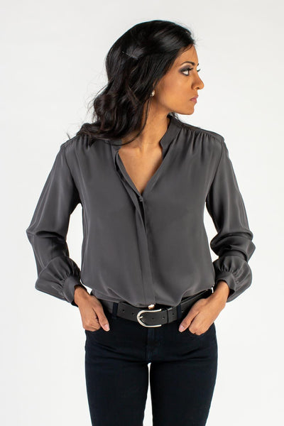 Charcoal Silk Sleeved Top