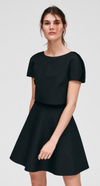 Black Textured Fine Dot Dress