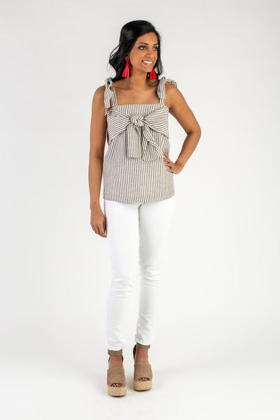 Caroline Grey Stripe Bow Top