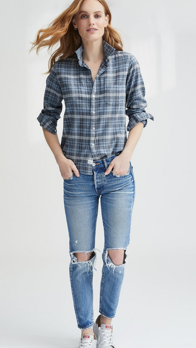 Frank & Eileen Faded Blue Flannel Top