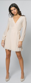 Silk French Vanilla Long Sleeve Wrap Dress