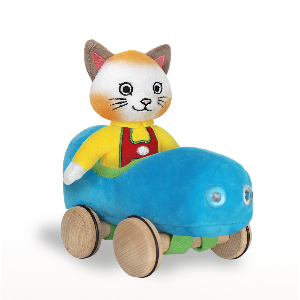 Huckle Cat Soft Toy with Blue Car