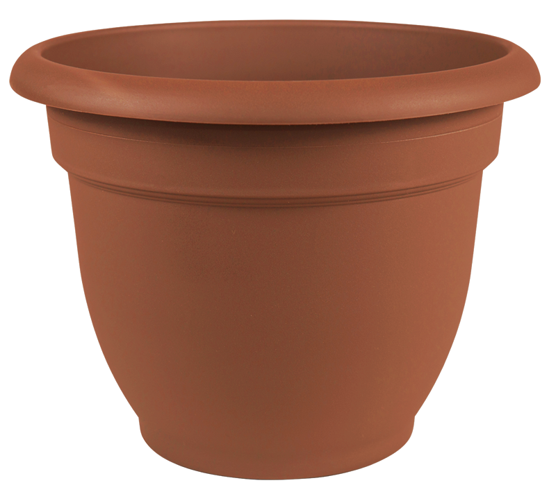 Classic Rolled Rim Resin Planter with Self Watering Disk.