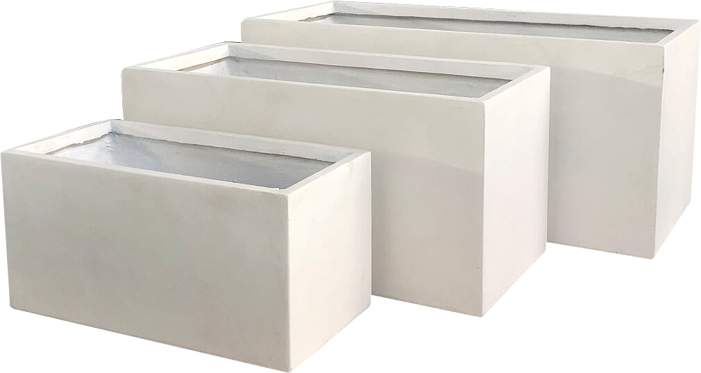 Metropolis Rectangular Planter in Vintage White