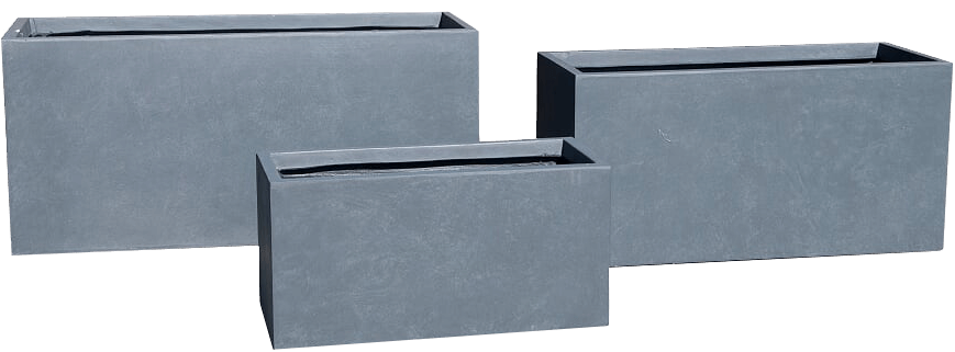 Metropolis Rectangular Trough Planter in Concrete Light Grey