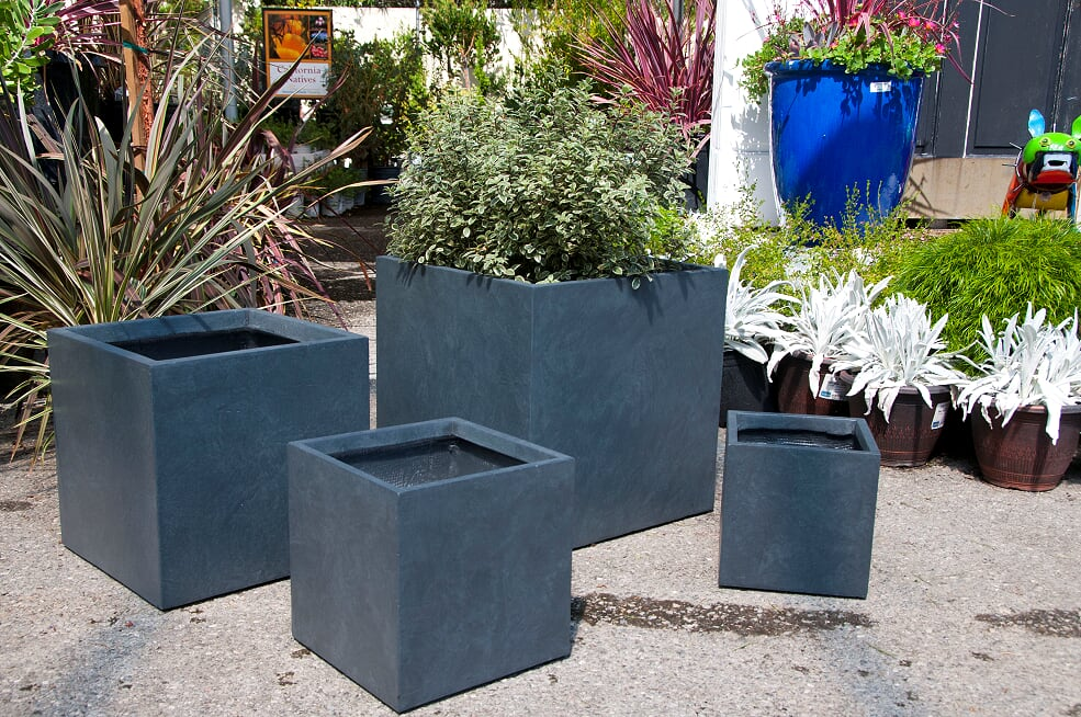 Metropolis Cube Planter in Dark Grey