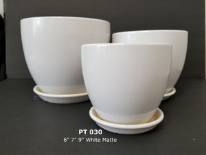 Egg Pot Matte White With Saucer