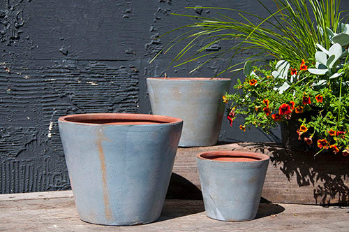 Round Handthrown Planter Aged Zinc