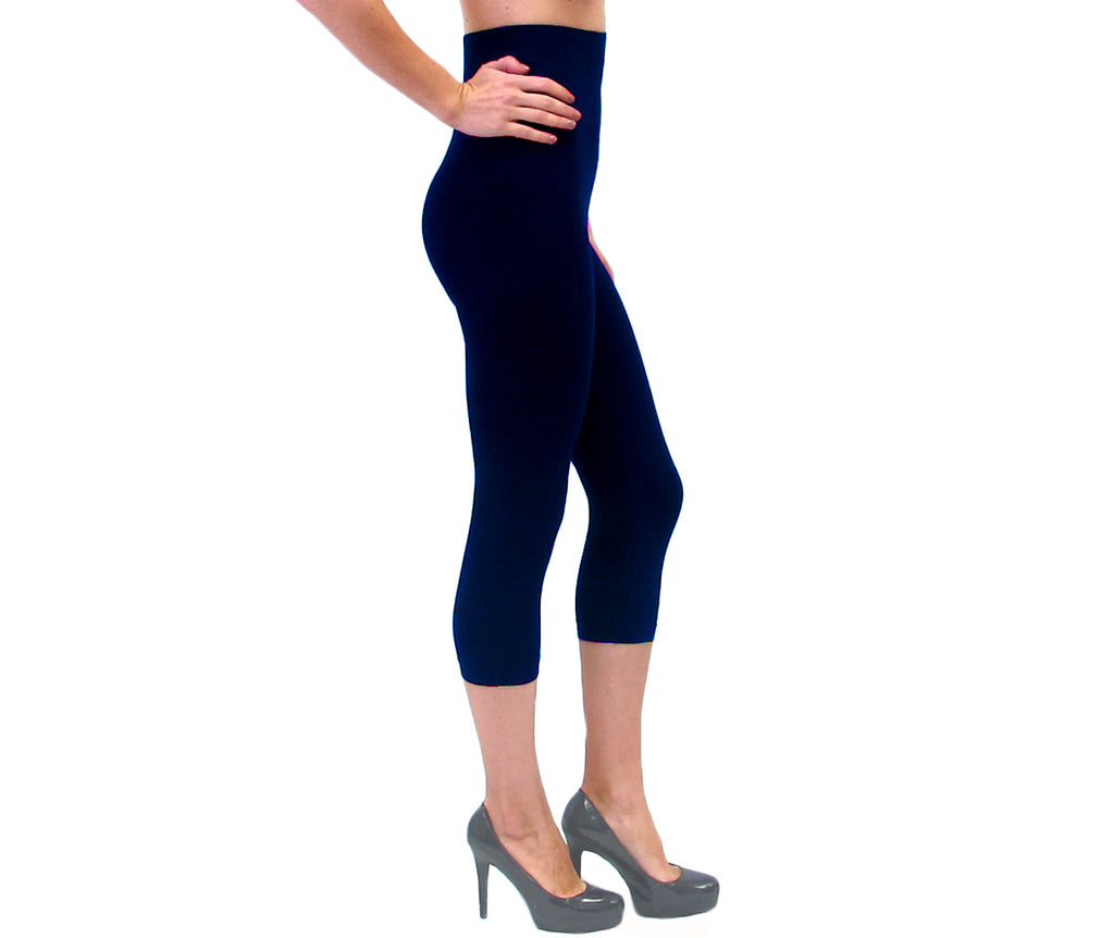 Navy High-Waisted  Capri Leggings