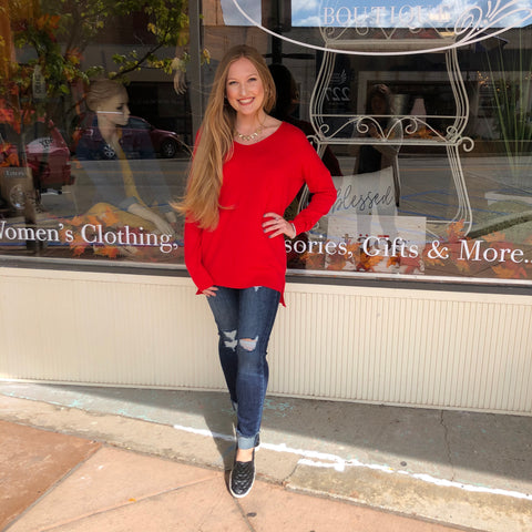 Red-V-Neck Hi-Lo Sweater